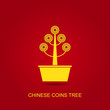 Vector Chinese Coins Tree Pot
