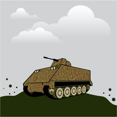 Personnel carrier grey sky