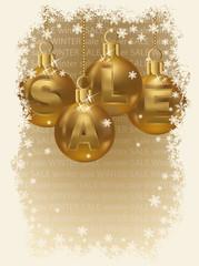 Winter sale invitation card, vector illustration