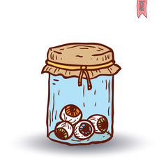 eye glass jar. vector illustration