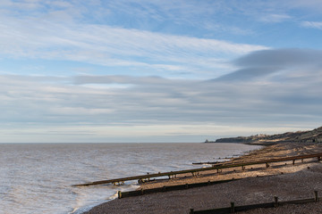 Reculver Towers seen from Herne Bay, Kent, Uk