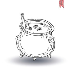 Witches cauldron. vector illustration
