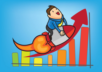 success business man growth up rank graph vector