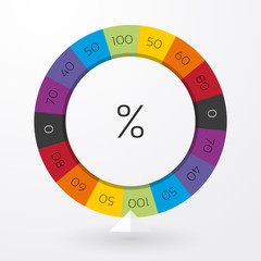 color wheel of fortune with arrow indicators and percent