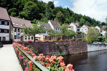 Kleinstadt und Fluss im Nordschwarzwald