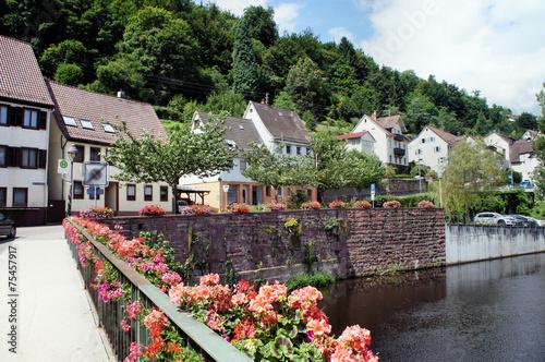Leinwanddruck Bild Kleinstadt und Fluss im Nordschwarzwald