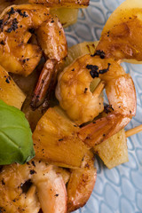 Skewer shrimp with pineapple