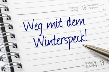Terminkalender mit dem Eintrag Weg mit dem Winterspeck