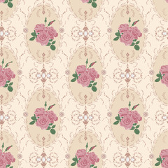 Beautiful seamless rose pattern with baroque background ornament