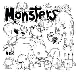 set of cartoon monsters. vector illustration