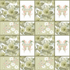 Seamless vintage retro colors rose butterfly pattern background