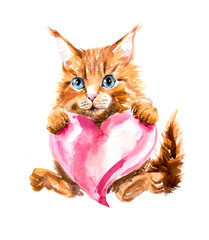 Red kitten with a pink heart.