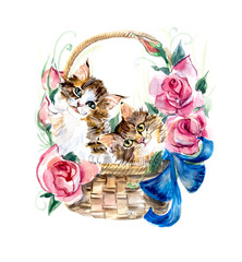 Two kitten on the basket with flowers.