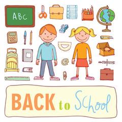 Doodle school icon, hand drawn illustration.