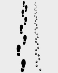 Footprints of man and dog, vector illustration