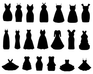 Black silhouettes of cocktail dresses, vector illustration