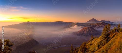 Panoramic view of Bromo mountain in the morning