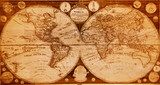old wooden map of northern and southern hemispheres earth