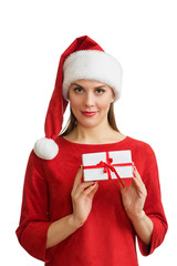 Woman in red santa hat holding present box