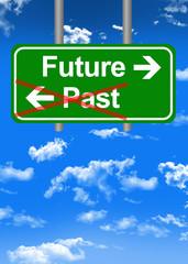 Future versus past road sign concept