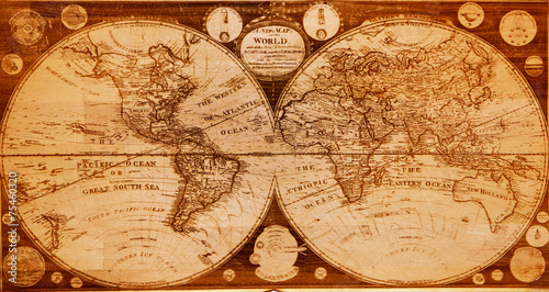 old wooden map of northern and southern hemispheres earth - 75460320