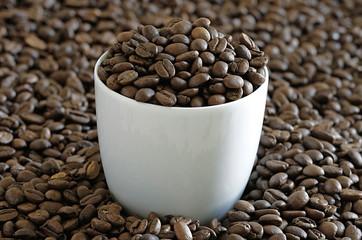 Tasse auf Kaffeebohnen