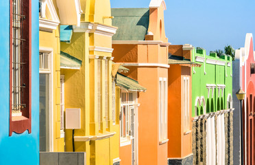 Detail of colorful houses in Luderitz - German town in Namibia