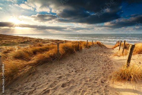 sunset over sand path to North sea - 75460984