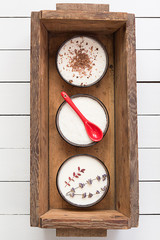 Assorted Coconut Panna Cotta in a Wooden Box