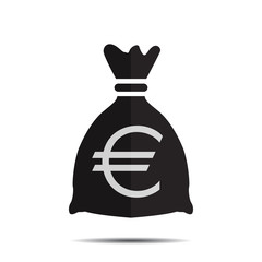 Bag with euro on white background