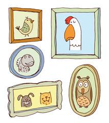 Set picture frames with animals portrait,vector illustration.