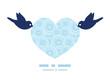 Vector doodle circle water texture birds holding heart