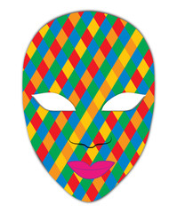 Cheerful colorful carnival mask on her face