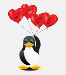 Penguin with red balloons and letters