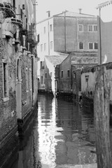 Venice canals in black and white