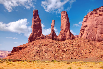The Three Sisters rock in Monument Valley, Arizona-Utah, US