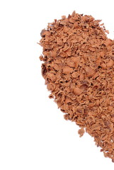 Half of Valentine heart from grated chocolate