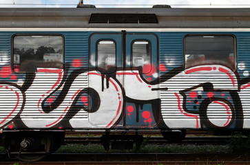 Graffiti on commuter train
