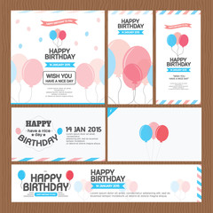 set of happy birthday card poster vector design