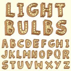 Vector alphabet with bulbs.
