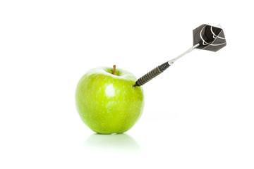 Green apple as a target for black steel dart