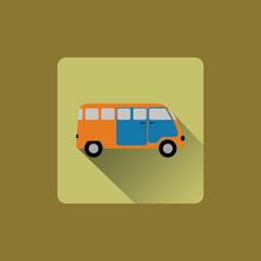 Cartoon minibus, flat icon design