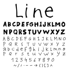 Set of two line sketch font.Hand drawn Vector.