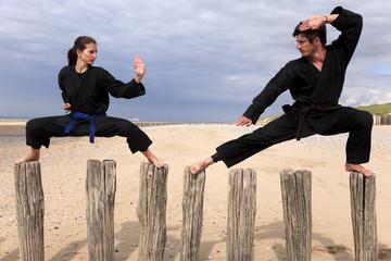 Arts martiaux sur des poteaux