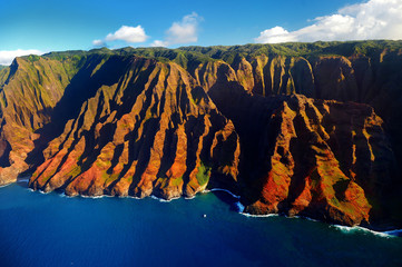 Beautiful aerial view of spectacular Na Pali coast