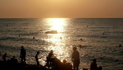 Summer beach at sunset