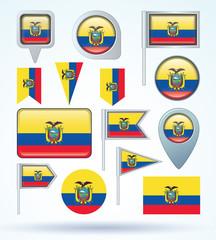 Flag set of Ecuador, vector illustration