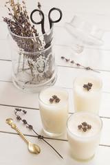 Vanilla Yogurt Panna Cotta with Dried Lavender Flowers