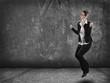 canvas print picture - Frau springt vor freude