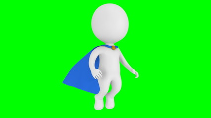 Brave superman with blue cloak fly above